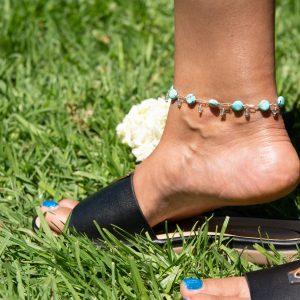 Blue CRAZY LACE, Swarovski Dangles and Sterling Handmade Anklet