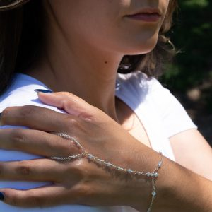 Precious and Dainty BLUE LACE Agate and STERLING Hand Chain