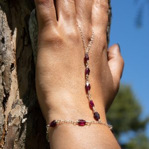 Precious GARNET and STERLING Hand Chain